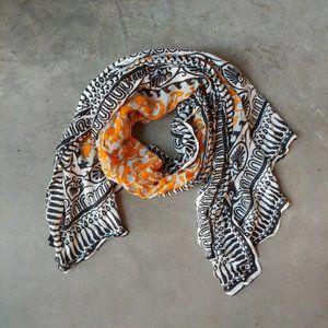 Cejon Orange Black White Pattern Scarf